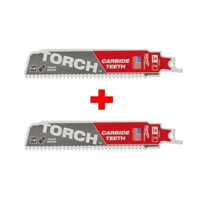 6 in. 7 TPI TORCH Carbide Teeth Metal Cutting Sawzall Reciprocating Saw Blade (2 Pack)