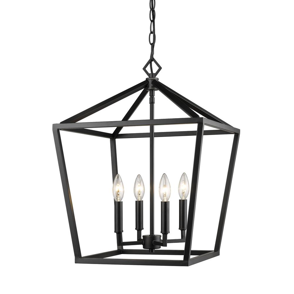Millennium Lighting 4 Light 16 In Wide Matte Black Taper Candle Pendant