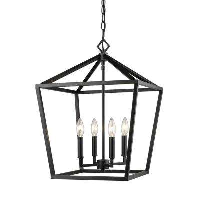 4-Light 16 in. Wide Matte Black Taper Candle Pendant