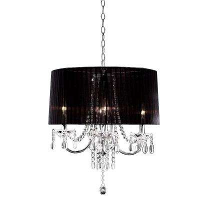 4-Light Crystal Drop Chandelier in Silver Chrome