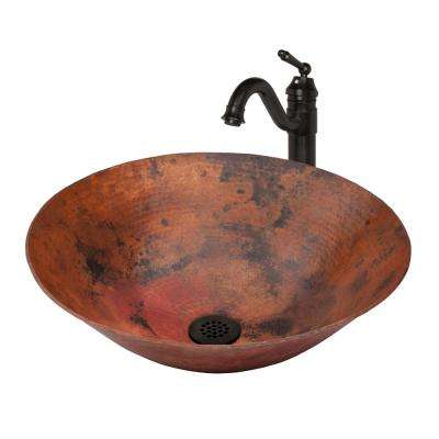 Vessel Sink in Natural Copper with Drain and Faucet in Oil Rubbed Bronze