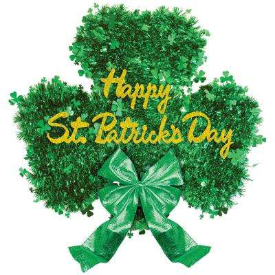 16 in. x 18 in. St. Patrick's Day Tinsel Shamrock Deluxe Decoration (2-Pack)