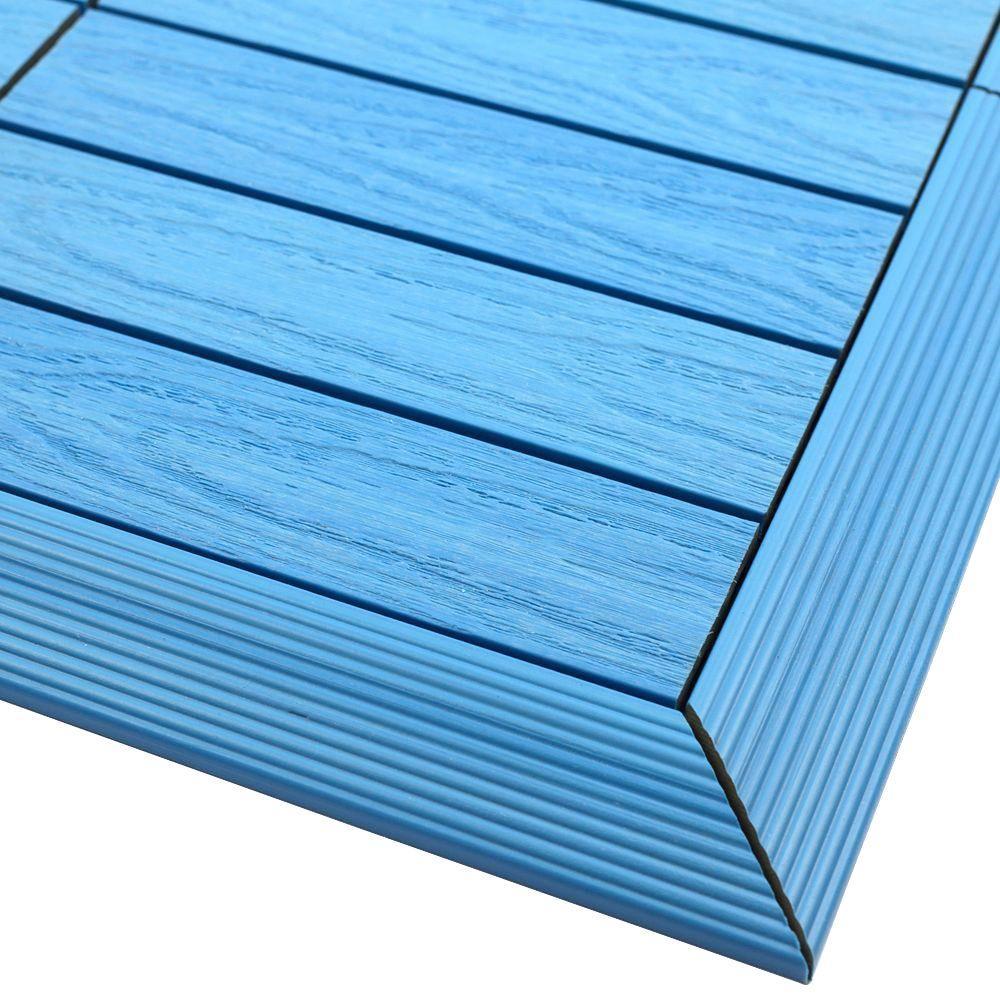 1/6 ft. x 1 ft. Quick Deck Composite Deck Tile Outside Corner Fascia in Caribbean Blue (2-Pieces/Box)
