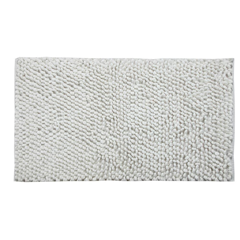 Saffron Fabs Bubbles Pattern 34 In X 21 Cotton And Microfiber White Latex Spray Non Skid Backing Bath Rug
