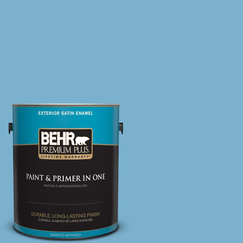 BEHR Premium Plus 1-gal. #M490-4 Frisky Blue Satin Enamel Exterior ...