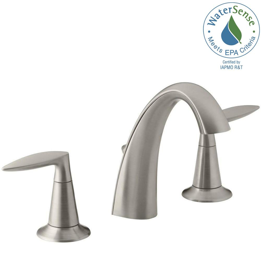 Kohler Alteo 8 In Widespread 2 Handle Water Saving Bathroom Faucet In Vibrant Brushed Nickel K