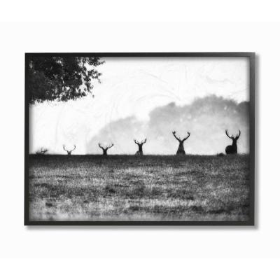 "16 in. x 20 in. ""Black and White Deer Family Photo"" by Villager Jim Framed Wall Art"