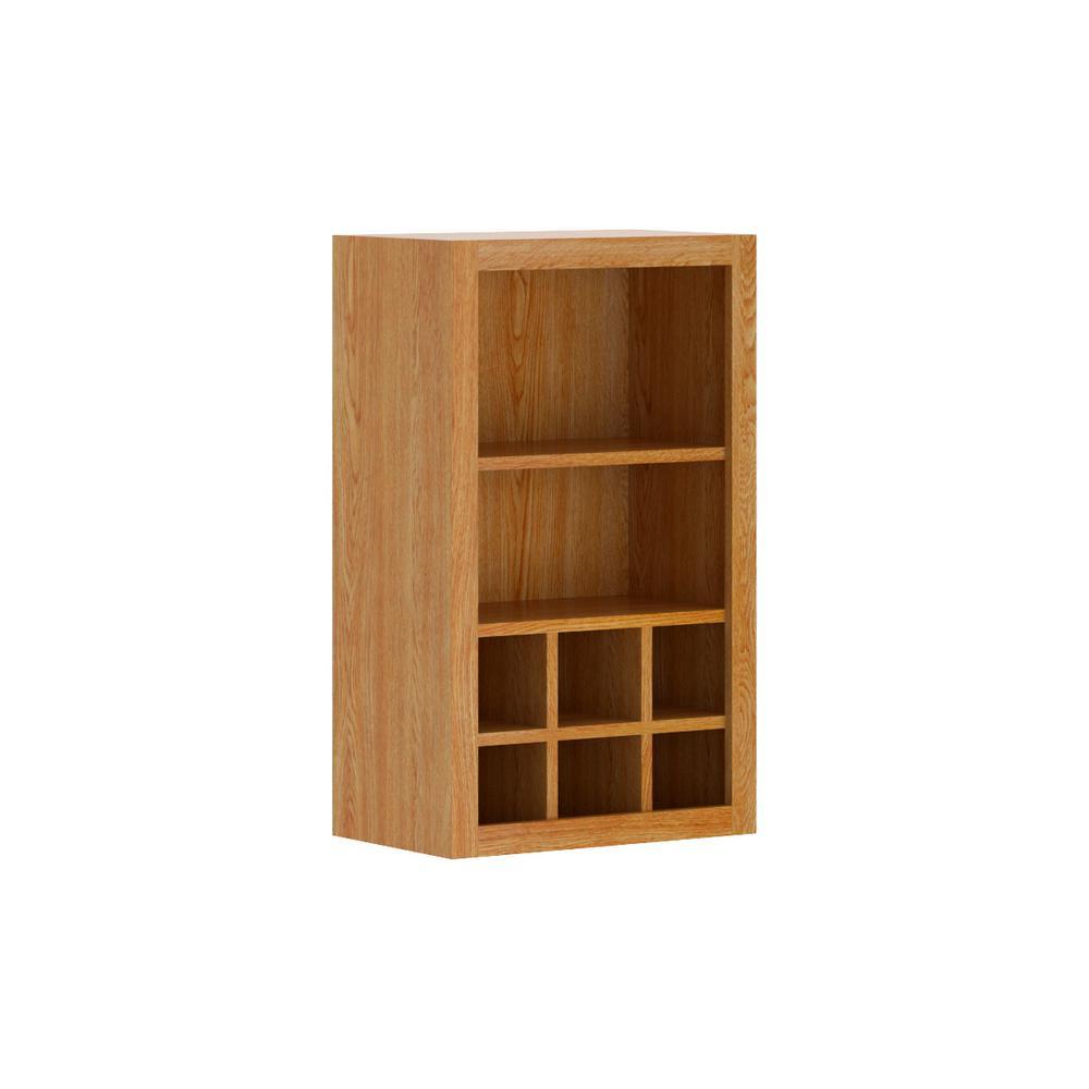Hampton Bay Madison Embled 18x30x12 In Flex Wall Cabinet Warm Oak