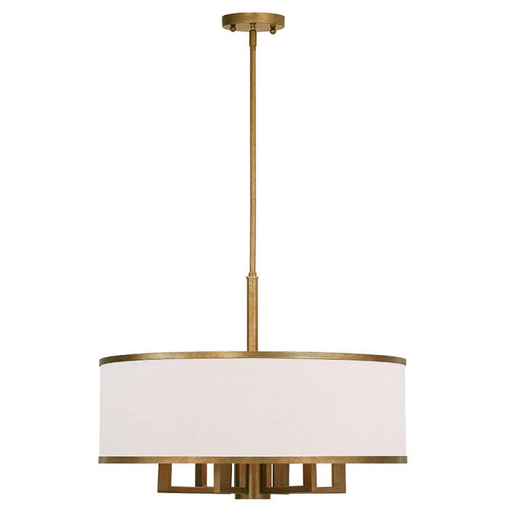 Livex Lighting Park 7 Light Antique Gold Leaf Chandelier With Hand Crafted Ash Gray Linen Fabric Hardback Shade