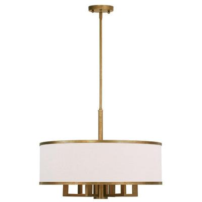 Park 7-Light Antique Gold Leaf Chandelier with Hand Crafted Ash-Gray Linen Fabric Hardback Shade