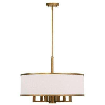 Park 6-Light Antique Gold Leaf Chandelier with Hand Crafted Ash-Gray Linen Fabric Hardback Shade