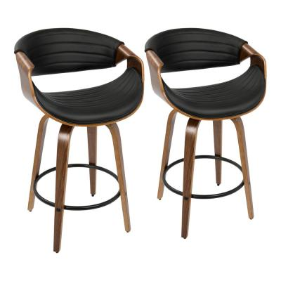 Symphony 26 in. Walnut and Black Faux Leather Counter Stool (Set of 2)
