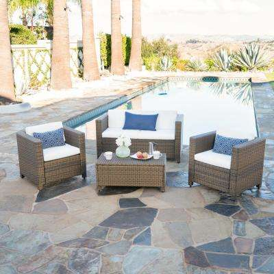 4-Piece Wicker Patio Seating Set with White Cushions