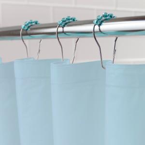 Blue Shower Curtain Liner And Rolling Ring Set