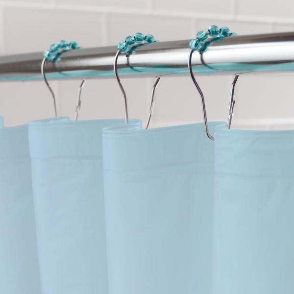 Kenney Peva 72 In Blue Shower Curtain Liner And Rolling Ring Set