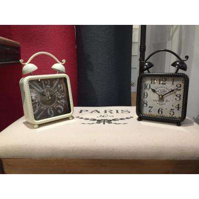 9 in. x 6 in. Square Iron Desk Clock (2-Pack)