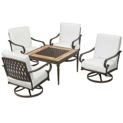 Oak Cliff Custom 5-Piece Metal Patio Fire Pit Conversation Set with Cushions Included, Choose Your Own Color