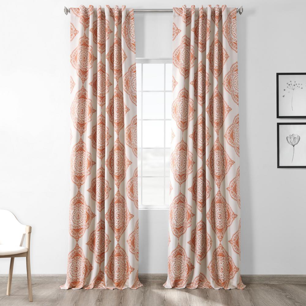 Semi-Opaque Henna Orange Blackout Curtain - 50 in. W x 108 in. L (Panel)