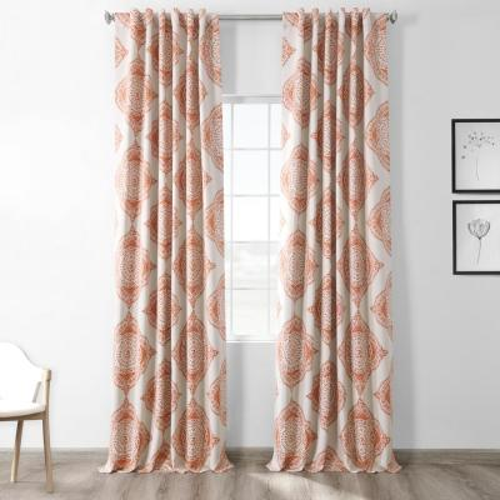 Semi-Opaque Henna Orange Blackout Curtain - 50 in. W x 120 in. L (Panel)