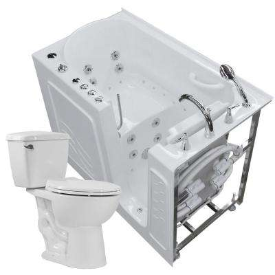 Nova Heated 52.75 in. Walk-In Whirlpool and Air Bath Tub in White with 1.6 GPF Single Flush Toilet