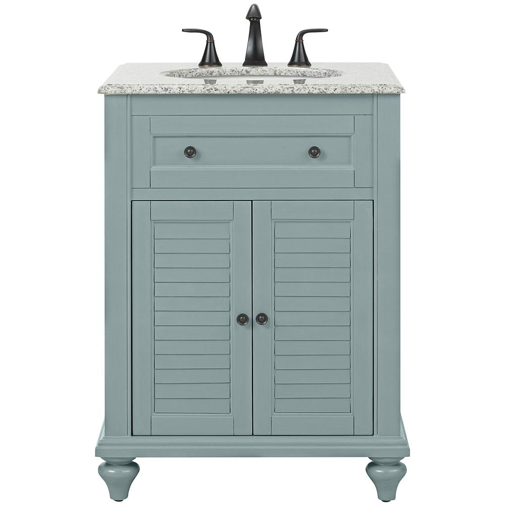 Peachy Home Decorators Collection Hamilton Shutter 25 In W X 22 In D Bath Vanity In Grey With Granite Vanity Top In Grey Interior Design Ideas Clesiryabchikinfo