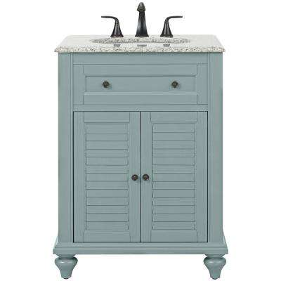 Hamilton Shutter 25 in. W x 22 in. D Bath Vanity in Sea Glass with Granite Vanity Top in Grey