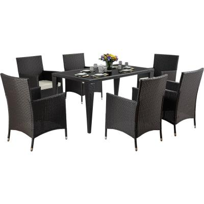 Brown 7-Piece Wicker Outdoor Dining Set with Cushion in Black