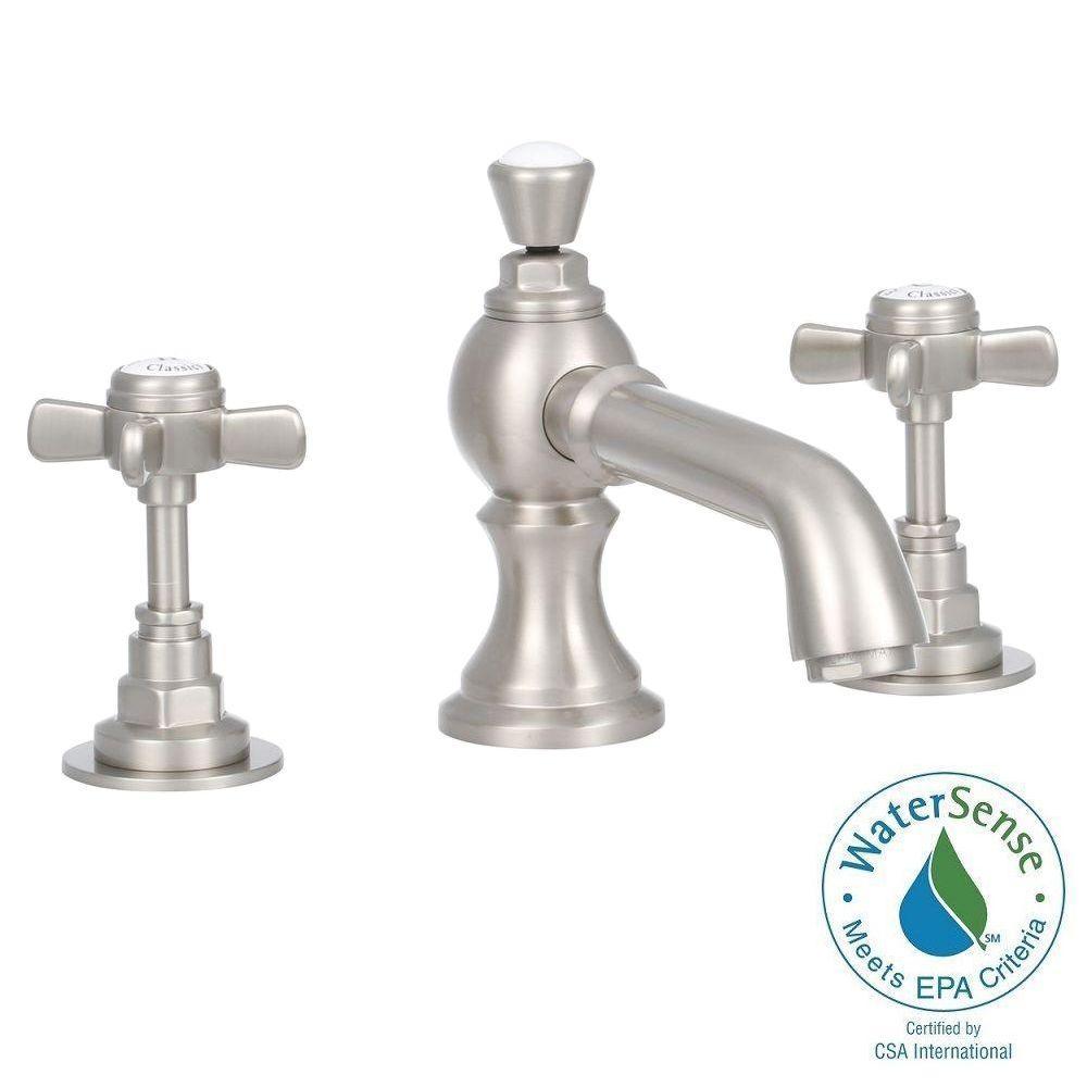 Elizabethan Classics Wiltshire 8 in. Widespread 2-Handle Mid-Arc Bathroom Faucet in Satin Nickel