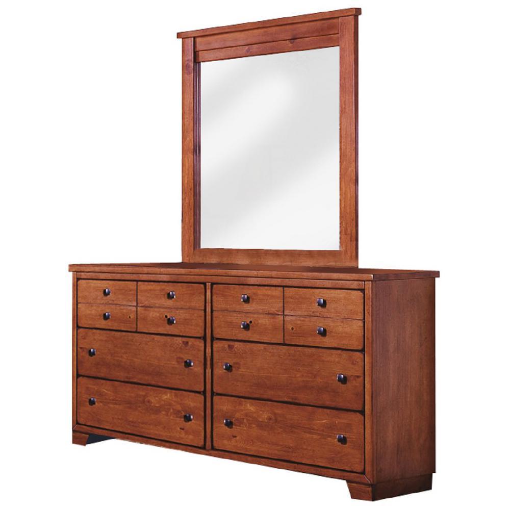 Progressive Furniture Diego 6-Drawer Pine Dresser with Mirror 61652-23/50
