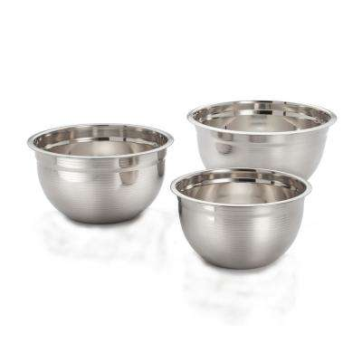 3-Piece Stainless Steel Rippled Mixing Bowl Set