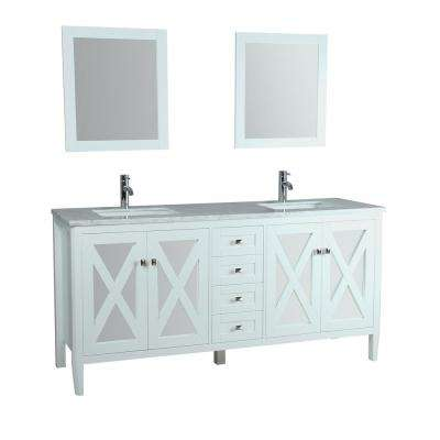 Reflection 72 in. W x 22 in. D x 36 in. H Vanity with White Marble Top with White Basin and Mirror