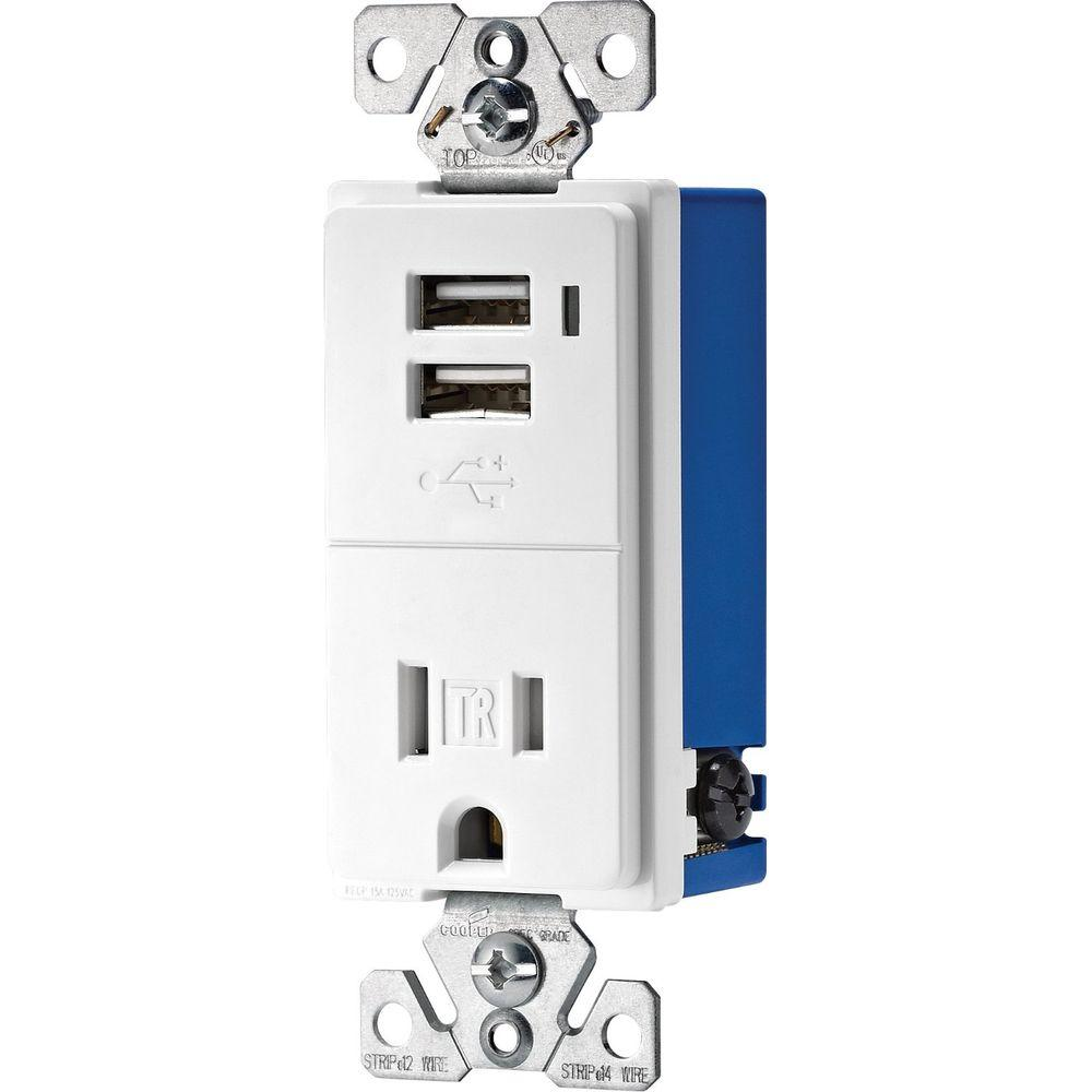 Eaton 15 Amp Decorator USB Charging Electrical Outlet - White
