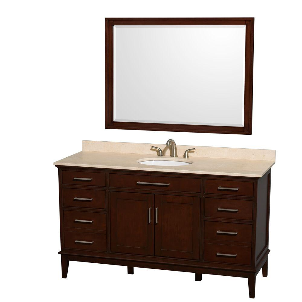 Wyndham Collection Hatton 60 in. Vanity in Dark Chestnut with Marble Vanity Top in Ivory, Sink and 44 in. Mirror