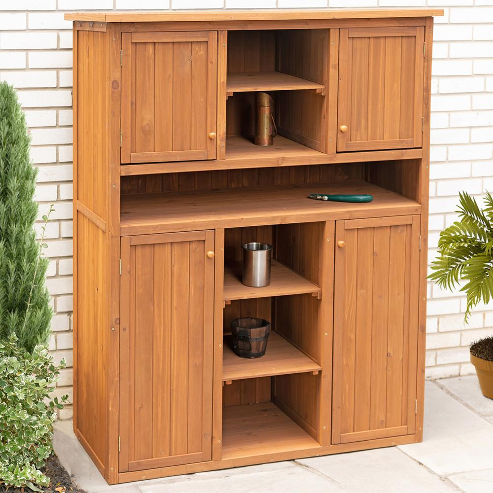 Leisure Season 50 in. W x 23 in. D x 65 in. H Medium Brown Cypress Tall Display and Hideaway Storage Shed Cabinet