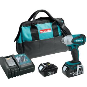 Makita 18-Volt LXT Lithium-Ion 3/8 inch Cordless Square Drive Impact Wrench Kit with (2) Batteries 3.0Ah Charger and Bag by Makita