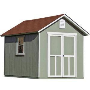 Click here to buy Handy Home Products Installed Meridian 8 ft. x 10 ft. Wood Storage Shed with Driftwood Shingles by Handy Home Products.