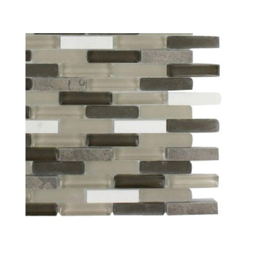 Splashback Tile Cleveland Taylor Mini Brick 3 In X 6 8 Mm Mixed Materials Mosaic Floor And Wall Sample L1a2 The Home Depot