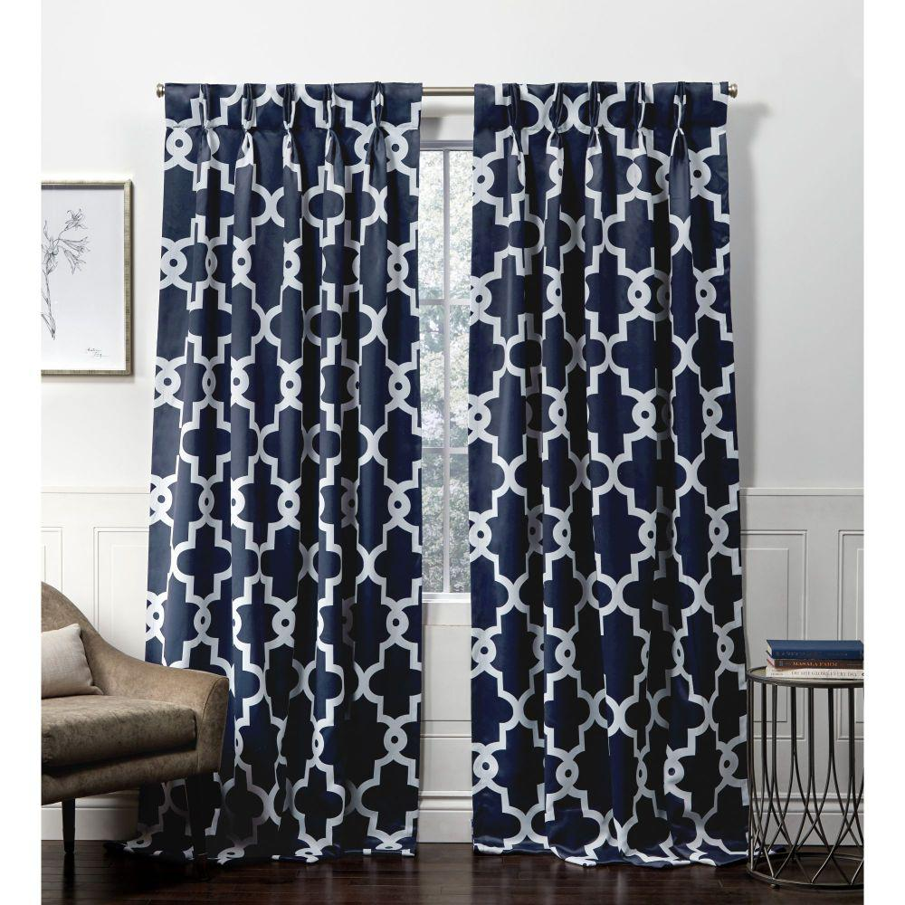 Exclusive Home Curtains Ironwork PP Peacoat Blue Blackout Triple Pinch Pleat Top Curtain Panel - 27 in. W x 84 in. L (2-Panel)