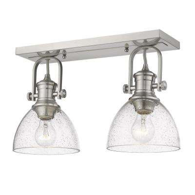 Hines 17.88 in. 2-Light Pewter with Seeded Glass Semi-Flush Mount