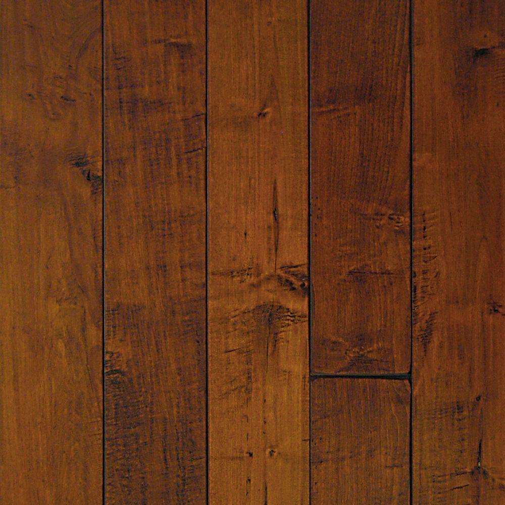 Millstead Take Home Sample - Hand Scraped Maple Spice Solid Hardwood Flooring - 5 in. x 7 in.