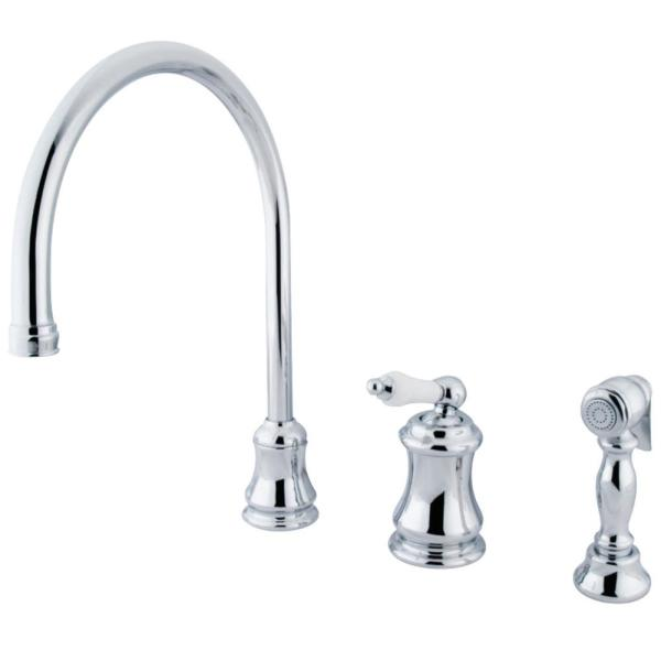 Restoration Single-Handle Standard Kitchen Faucet with Side Sprayer in Polished Chrome