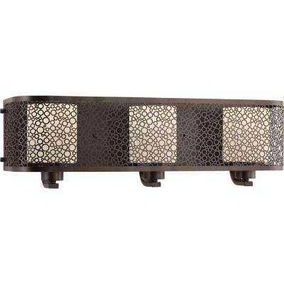 Mingle Collection 3-Light Antique Bronze Bathroom Vanity Light with Glass Shades