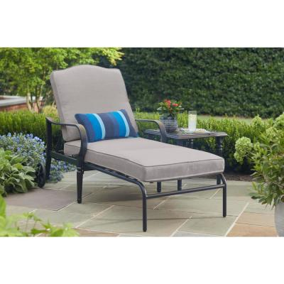 Laurel Oaks Brown Steel Outdoor Patio Chaise Lounge with CushionGuard Stone Gray Cushions