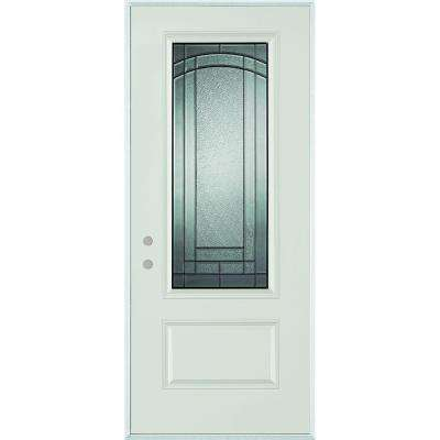 37.375 in. x 82.375 in. Chatham 3/4 Lite 1-Panel Painted Right-Hand Inswing Steel Prehung Front Door
