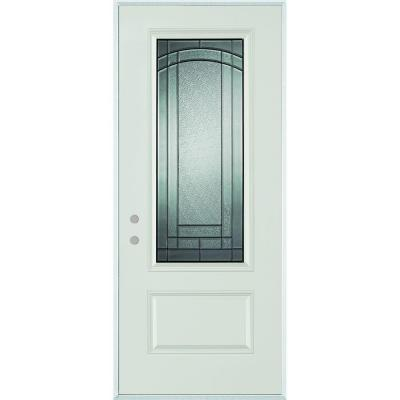 36 in. x 80 in. Chatham 3/4 Lite 1-Panel Painted Right-Hand Inswing Steel Prehung Front Door
