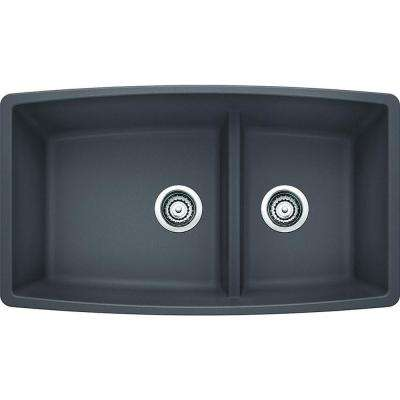 Performa Undermount Granite Composite 33 in. Medium 1-3/4 Bowl Kitchen Sink in Cinder