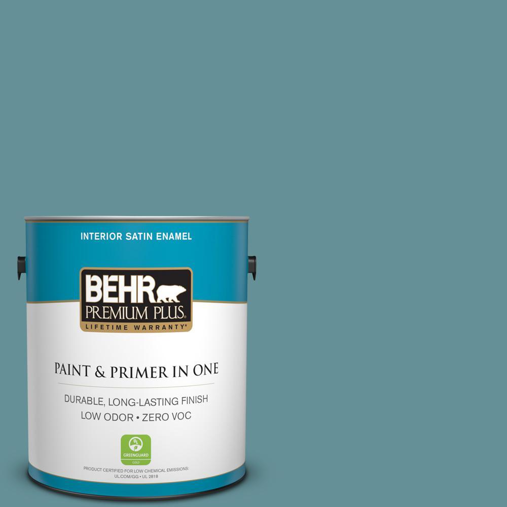 1 gal. #510F-5 Bayside Satin Enamel Zero VOC Interior Paint and