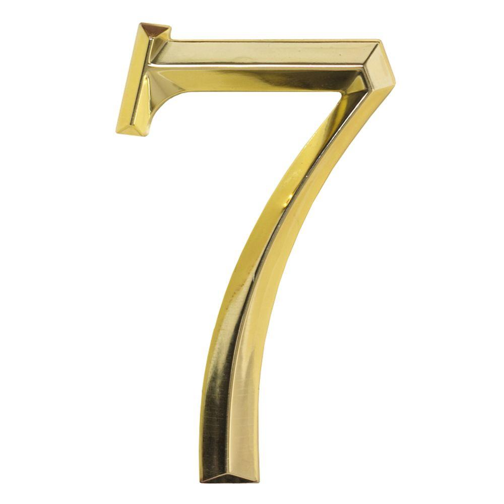 Whitehall Products Classic 6 in. Polished Brass Number 7