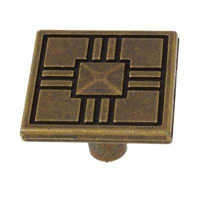 1-1/4 in. Antique Brass Craftsman Collection Square Cabinet Knobs (10-Pack)