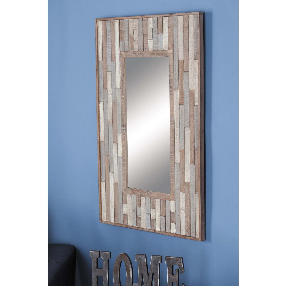 36 in. x 24 in. Rectangular Slat Framed Wall Mirror